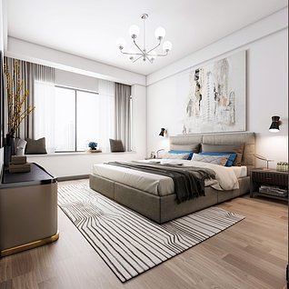 卧室,现代卧室家装模型
