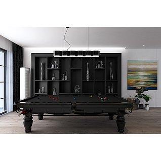 现代装饰柜摆件台球桌组合家装模型