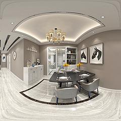 现代简约客厅全景整体模型