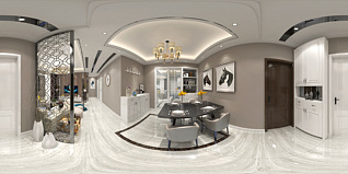现代简约客厅全景3d模型