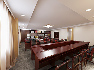 一建三分会议室3d模型
