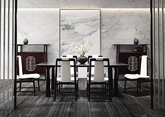 新中式轻奢餐厅3D模型