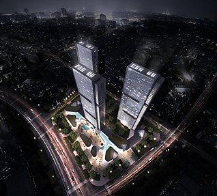 俯视鸟瞰城市3d模型