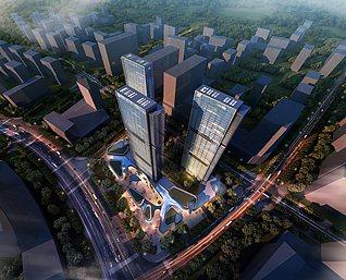 俯视城市鸟瞰图3d模型