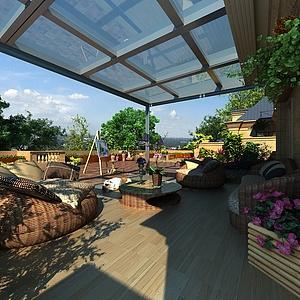 别墅阳台景观模型3d模型
