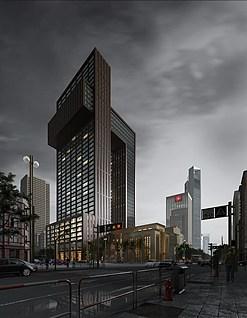 户外超写实建筑雨景模型3d模型