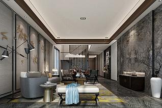 新中式客厅家装模型