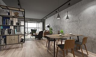 工业风客餐厅3d模型