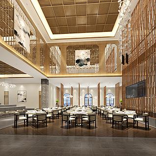 新中式风格的餐厅3d模型