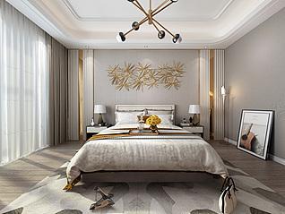 后现代轻奢卧室双人床床具3d模型