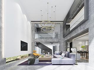 现代客厅别墅3d模型
