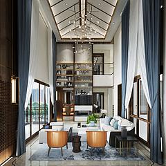 新中式客厅别墅3D模型