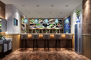 新中式餐厅3d模型