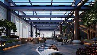 室内中式园林景观3d模型