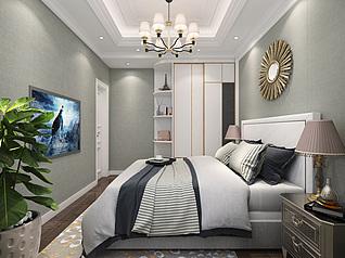 现代简约卧室卫生间3d模型