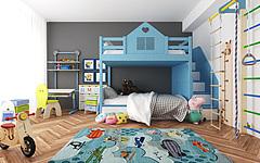 现代儿童床写字桌玩具组合3D模型