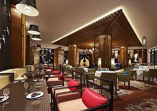 高端豪华餐厅3d模型