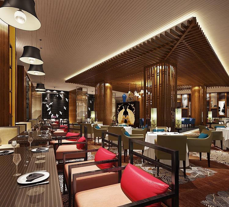 高端豪华餐厅模型