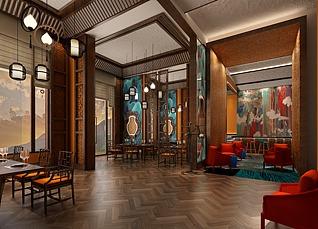 中式餐厅3d模型