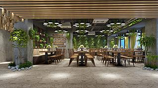 绿植餐厅3d模型