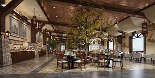 美式餐厅3d模型
