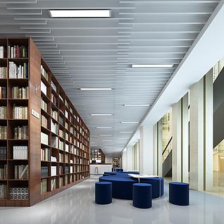 现代图书馆阅读区3d模型