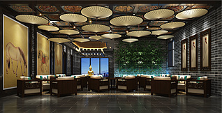 酒店餐厅3d模型