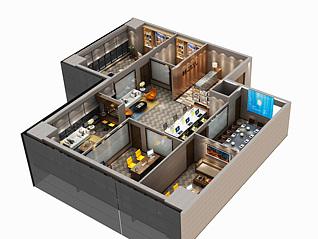 室内鸟瞰图3d模型