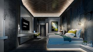 复古酒店客房3d模型
