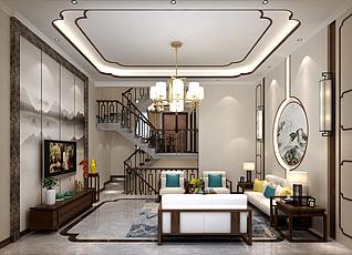 新中式别墅客厅家装模型