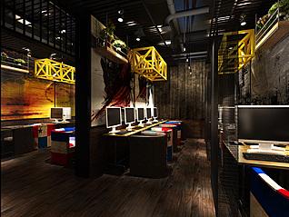 工业风网吧3d模型