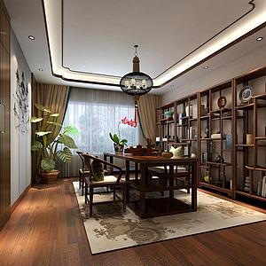 新中式茶室多寶閣吊燈茶桌3d模型