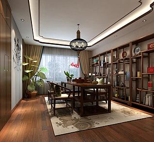 新中式茶室多宝阁吊灯茶桌3d模型