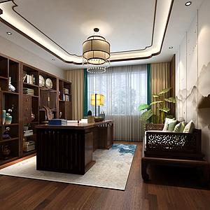 新中式書房書桌椅書柜多3d模型
