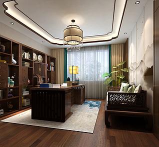 新中式书房书桌椅书柜多3d模型