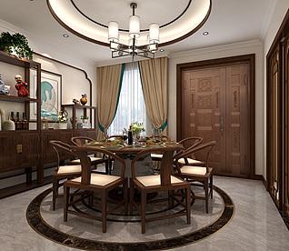 新中式餐厅家装模型