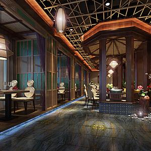 中式田园餐厅整体模型