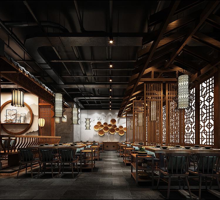 中式豪华餐厅模型