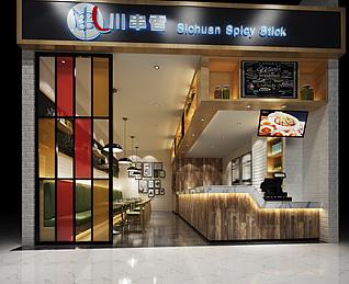 商业街餐厅3d模型