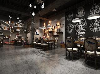 商业空间餐厅3d模型