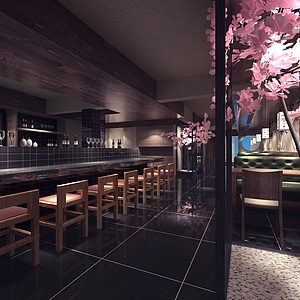 日式樱花餐厅整体模型