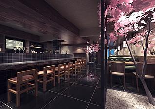 日式樱花餐厅3d模型
