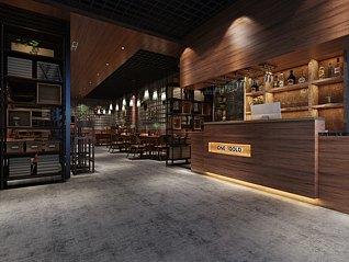 西式商业酒吧餐厅3d模型