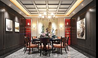 餐厅包房3d模型