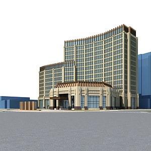 酒店<font class='myIsRed'>大楼</font>模型整体模型