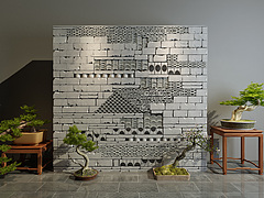 新中式砖墙隔断墙3D模型