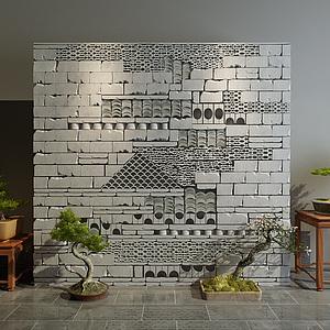 新中式磚墻隔斷墻3d模型