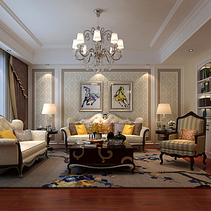 新古典客廳沙發茶幾組合3d模型
