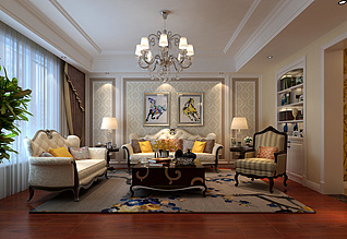 新古典客厅沙发茶几组合3d模型
