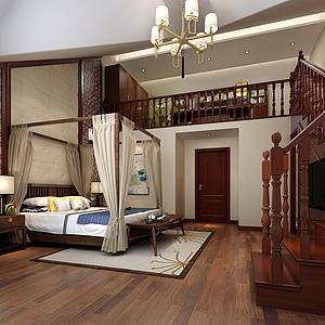 新中式臥室架子床3d模型